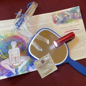 opened self-exam pamphlet, mirros, flashlight, organic lube packet, small flashlight